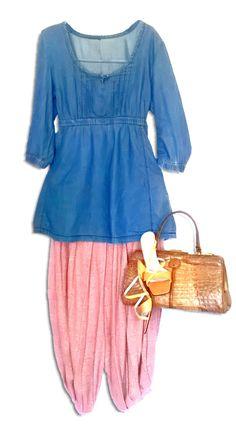 Vintage harem pants (part of a ensemble) genuine crocodile bag, reptile shoes and a jeans tunic. Vintage 70s, Crocodile, Harem Pants, Tunic, Jeans, Modern, Clothes, Shoes, Fashion