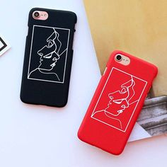 LOVECOM Abstract Brief Line Face Phone Case For iPhone 6 6S 7 7 Plus Back Cover Hard Plastic Matte Dull Polish Capa Fundas