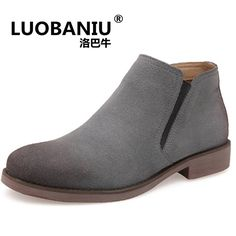 50a6612d65ee7 British trend of large size Chelsea boots men  s retro Martin boots fashion  cow suede