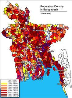 Population Density In Bangladesh Homelandgeographypoliticsmaps