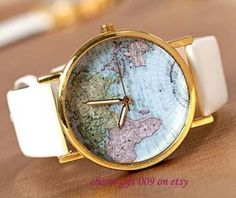 Map of the world watches leisure fashion by Charmgift009 on Etsy, $1.99