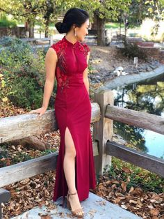An elegant wine red qipao wedding dress with a modern twist and splash of color. Made for the iconic woman who always pushed the boundaries of fashion. Floor length, sheath, sleeveless cheongsam with floral embroidery. Customize it to your desired color. Cheongsam Wedding, Cheongsam Dress, Wine Wedding Dresses, Modest Wedding, Custom Dresses, Look Fashion, Etsy, Floral Embroidery, Party Wear