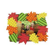 Patterned Fall Leaves Photo Frame Magnet Craft Kit - OrientalTrading.com