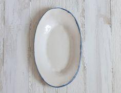 Burlap Platter with Cobalt Rim