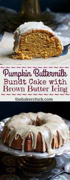 Pumpkin Buttermilk Bundt Cake with Brown Butter Icing - Pumpkin Recipes - Fall Desserts, Just Desserts, Delicious Desserts, Dessert Recipes, Keto Recipes, Icing Recipes, Cupcake Recipes, Bunt Cakes, Cupcake Cakes