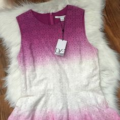DVF Ombre eyelet dress This is the perfect sundress! Purple, white, pink ombre design. Eyelet. Lined. Offers welcome through offer tab. No trades. 31816301 Diane von Furstenberg Dresses Mini