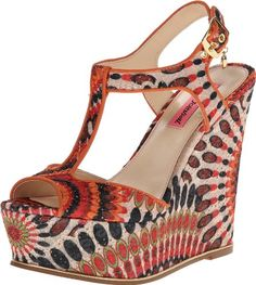 Betsey Johnson Womens Taelyn Wedge SandalOrangeMulti85 M US * This is an Amazon Affiliate link. You can find out more details at the link of the image.
