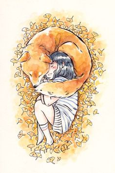 Girl and Shiba Inu Print via Dliok. Click on the image to see more!