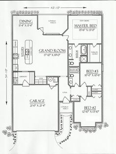 First Floor Plan of Cottage Country European House Plan 74701 #FrontEntry Garage