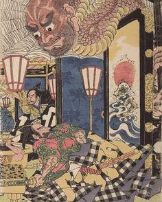 Artist: Utagawa Kuninaga Title:Triptych: Minamoto Yorimitsu (Kumo no sei ni rayama saru zu Yorimitsu) Date:Edo period, 1615-1868 #monsters #demons #kuninaga #samurai1nk #japaneseart #japanesemyth