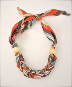 Pastel Scarf Necklace  Statement Necklace Fabric by Pamplepluie, $22.00