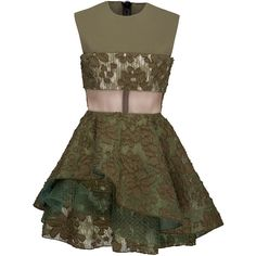 Alex Perry     Eloise Satin Crepe Crew Floral Lace Mini (2.135 BRL) ❤ liked on Polyvore featuring dresses, khaki, brown mini skirt, khaki mini skirt, lace fit-and-flare dresses, floral lace dress and flared mini skirt