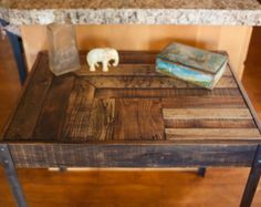 Pallet Wood and Metal Leg Coffee Table by woodandwiredesigns