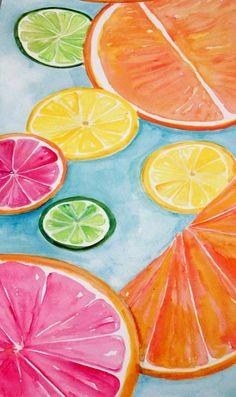 Citrus Watercolors Paintings Ruby Red Grapefruit Lemon Orange Limes Original Watercolor Painting Fruit Art 8 X 10 Kitchen Decor