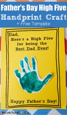 Father's Day High Five Handprint Craft and Free Template -