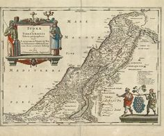 A Geographical Rendering of Judaea, or the Land of Israel - from 'Le theatre du monde ou nouvel atlas' (Theater of the world, or new atlas), a work by Jan Jansson (1588-1664) that was published in Amsterdam circa 1658