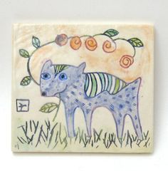 blue dog with flower hand carved ceramic art by crowfootstudio, $34.00