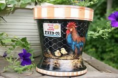 "free images to paint on clay pots | ROOSTER & CHICKS"" Clay Pot 