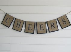 Rustic Burlap CHEERS Wedding New Years or by occasionsbysarah