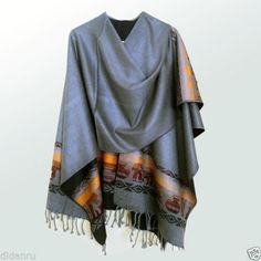 HIGH-QUALITY-ALPACA-WOOL-PONCHO-WRAP-GREY-HANDMADE-IN-ECUADOR
