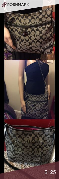 Signature Coach Authentic handbag F18925 Medium size coated canvas. Good condition very minor wear on bottom corners. Can be worn cross body 12 x 11 x 4 Coach Bags Crossbody Bags