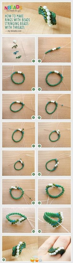 Best Seed Bead Jewelry 2017 Easy ring with 2 sizes of beads Seed Bead Tutorials Seed Bead Tutorials, Jewelry Making Tutorials, Beading Tutorials, Tutorial Anillo, Ring Tutorial, Jewelry Patterns, Beading Patterns, Seed Bead Jewelry, Beaded Jewelry