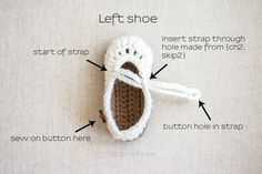 Free Crochet Pattern baby shoes bootees. How to finish mary janes | www.1dogwoof.com