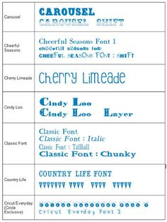 Cricut Font Cheat Sheet - Full visual list of Cricut cartridges with font examples!