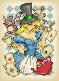 alice in wonderland, disney, fairy tail, blonde, drawing, painting, Alice, girl, manga, cool stuff, beautiful