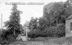 """St-Sauveur. Le château et la tour Sarrazine (vue prise des communs) - Chateau et donjon vus des écuries.- 4) SUR LES PAS DE COLETTE: Le loquet de la grille: depuis toujours, quand on le tourne comme ça -il mimait- et qu'on laissant aller la grille, alors elle s'ouvre par son propre poids et en tournant elle dit: i-î-ian.. Ils ont huilé la grille"""". La Cour du Paté fut achevée en  1701: elle est construite sur un énorme rocher. La vinée avec cave et grenier fut construite en 1702."""