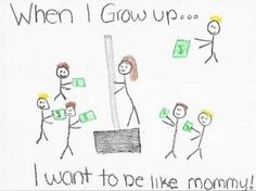After it was graded and the child brought it home, she returned to school the next day with the following note:  Dear Ms. Davis,  I want to be very clear on my child's illustration. It is NOT of me on a dance pole on a stage in a strip joint. I work at Home Depot and had commented to my daughter how much money we made in the recent snowstorm. This photo is of me selling a shovel.  Mrs. Harrington   (note to self -  always check your child's homework)