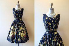 1950s Dress  Vintage 1950s Dress  Black Floral by jumblelaya, $168.00
