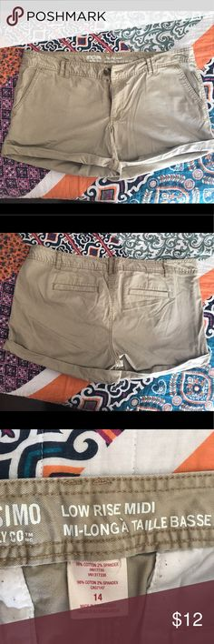 Mossimo shorts Khaki, not a stretchy material, low rise and have been lightly worn. (Wrinkled in pictures from being folded) Mossimo Supply Co Shorts Jean Shorts
