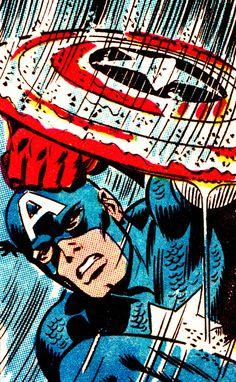 Captain America and his umbrella, by John Romita. #CaptainAmerica #superheroes #marvel