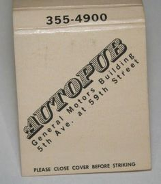 Vintage front strike unstruck unused matchbook cover. General Motors Building. Universal Match New York. 5th Ave at 59th Street. 355-4900. Matches have been removed.