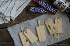 Peanut Butter Snicker Ice Cream Pops from JensFavoriteCookies.com - easy to make, and to eat on the go!