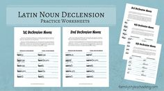 Latin Noun Declension worksheets