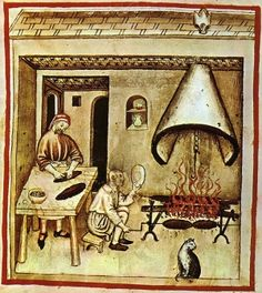 Researching Food History - Cooking and Dining: Cats in the Medieval kitchen Renaissance, Medieval Life, Medieval Art, Medieval Fashion, Medieval Manuscript, Illuminated Manuscript, Kaiser Karl, Medieval Recipes, Landsknecht
