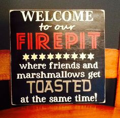 12x12 handmade firepit sign deck decor by HomeDco on Etsy, $22.50