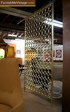 Mid Century Modern Gold Room Divider Screen -- I have to admit, I am a bit fascinated with MCM screens.  I would love to have one in my own house.  Such a cool design element.