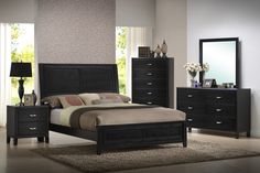 Eaton Black Wood 5 Piece Queen Modern Bedroom Set | Home Furniture»SHOP BY