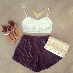 <3Lace Bustier Ruffle Trim Shorts and Studded Clutch<3