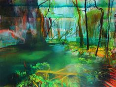 © Jacinda Bayne 2014<br />Shallow Pool<br>Oil on canvas<br>91 x 122 cm <br>$6950 | Sold Abstract Landscape Painting, Landscape Paintings, Perth Western Australia, Australian Artists, Shallow, Painters, Oil On Canvas, Gallery, Green