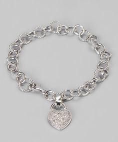 Look what I found on #zulily! White Diamond & Sterling Silver Heart Bracelet by Marsala #zulilyfinds