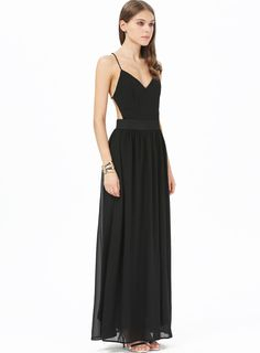 Black V-neck Spaghetti Straps Backless Maxi Dress