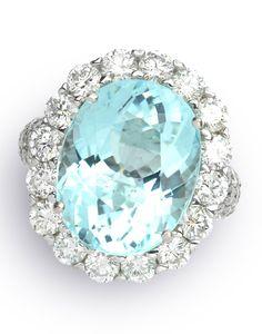 Blue Tourmaline & White Diamond Rings Item #198-121786 10.14 ctw Paraiba Tourmaline & 2.71 ctw Diamond 18K White Gold 8.00gr Ring Sz 6 - Gem Shopping Network