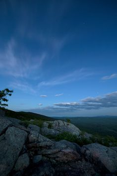 hill, nature, landscape, sky, clouds, view, rocks, greenery, evening