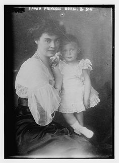 Duchess Cecilie Auguste Marie of Mecklenburg-Schwerin (1886-1954), wife of German Crown Prince William, probably with her son Prince Friedrich (b. 1911