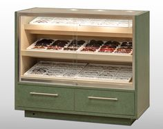 Illuminated Frame Tray Showcase, Glass Top, Locking, Storage Drawers, Shown in Laminate Finish, Hardwood Option Available. http://www.fashionoptical.com/products