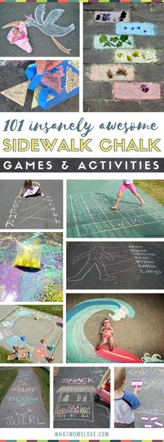 Sidewalk Chalk Ideas For Kids | Fun games and activities to play on your driveway or walkway including learning, educational and active play | Easy chalk art ideas that integrate your child - so cool! Great ideas for things to do over the summer to stop boredom before it starts. via @whatmomslove